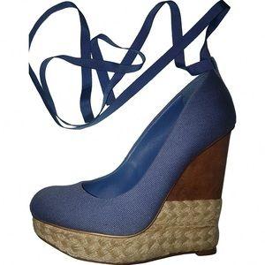 📚BCBGMaxAzria Blue Wooden Espadrille Wedges